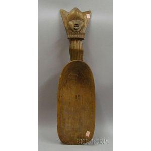 African Carved Wooden Grain Shovel
