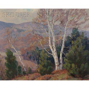 Thomas R. Curtin  (American, 1899-1977)      Autumn Birches
