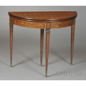 Bronze Mounted and Parquetry Inlaid Tulipwood Demilune Card Table