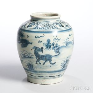 Small Blue and White Export Jar