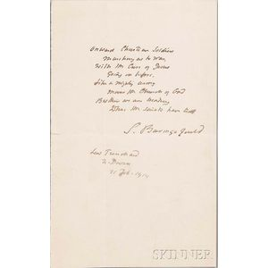 Baring-Gould, Sabine (1834-1924) Manuscript Fair Copy, Signed, 1919, Onward Christian Soldiers.