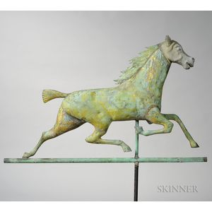 Large Molded Copper and Cast Zinc Running Horse Weathervane