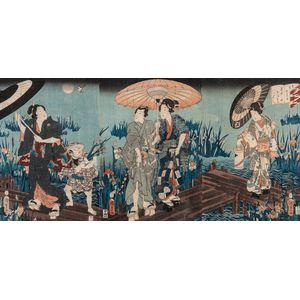 Utagawa Kunisada (Toyokuni III, 1786-1865), Two Triptych Woodblock Prints