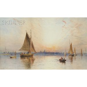 Charles Henry Gifford  (American, 1839-1904)      New Bedford Harbor at Sunset
