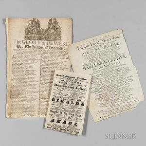 Theatre Playbills, Approximately Thirty, Late-18th to Mid-19th Century.
