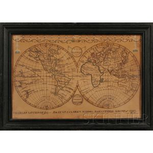 "Framed School Boy Map of ""The World From the Latest Discoveries,"""