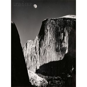 Ansel Adams (American, 1902-1984)      Moon over Half Dome, Yosemite National Park