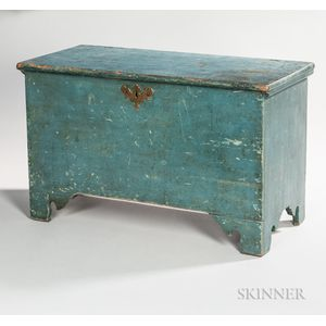 Small Blue-painted Six-board Chest