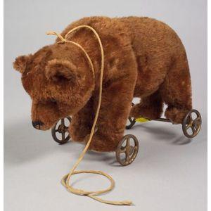 Early Brown Mohair Steiff Bear on Wheels