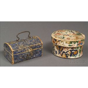 Two Miniature Wallpaper Covered Band Boxes