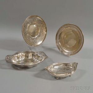 Four Sterling Silver Pierced Trays