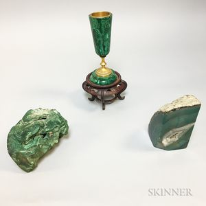 Two Malachite Items and a Green Geode Bookend