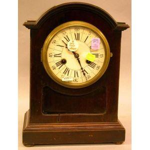 German/Austrian Fruitwood Veneer Bracket Clock