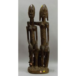 African Double Fertility Carved Wooden Totem