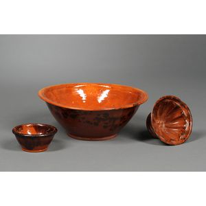 Glazed Redware Bowl, Small Bowl, and Footed Mold