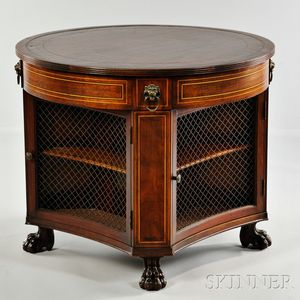 Regency-style Inlaid Mahogany Drum Table