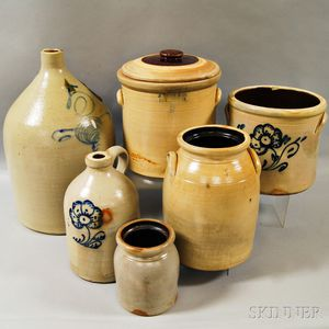 Six Mostly Cobalt-decorated Stoneware Items