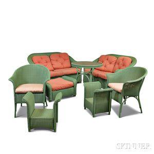 Eight Pieces of Seafoam Green Wicker Patio Furniture