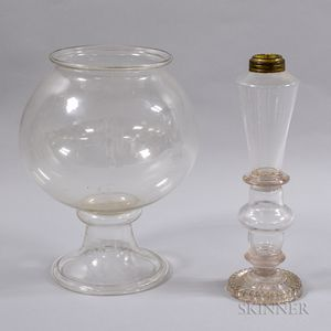 Colorless Blown Glass Oil Lamp and a Fish Bowl