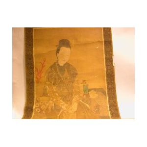18th Century Chinese Scroll Painting of a Woman on Silk.