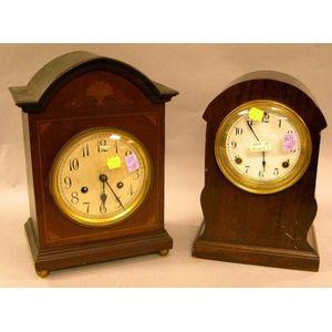German Inlaid Mahogany Bracket Clock and a Waterbury Clock Co. Mahogany Shelf Clock.