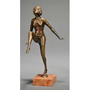 Small Bronze Art Deco Figure of Nude Dancer