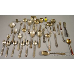 Group of Assorted Mostly Sterling Silver Spoons and Flatware Servers