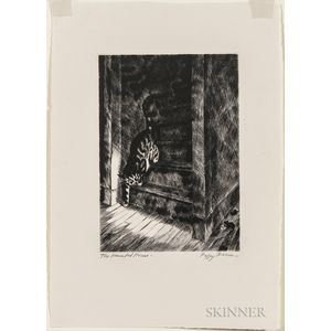 Bacon, Peggy (1895-1987) Limited Edition Signed Original Drypoint Etching, The Haunted House  , 1939.
