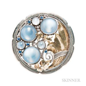 Arts and Crafts Moonstone and Sapphire Brooch, Edward Oakes