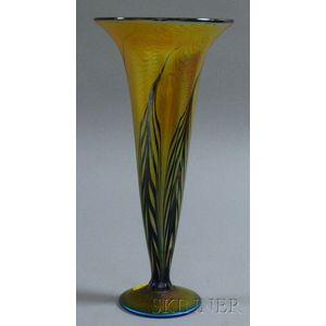 Lundberg Studios Iridescent Moire Fern Pattern Art Glass Trumpet Vase
