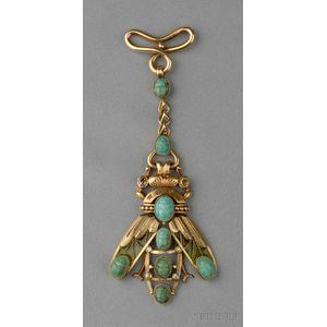 Art Nouveau 18kt Gold, Plique-a-jour Enamel, Turquoise, and Colored Diamond Fob