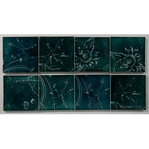 Eight J. & J.G. Low Art Tile Works Floral Art Pottery Tiles