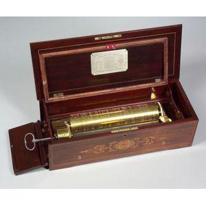 Fine Key-Wind (Mandoline) Expressive Overture Musical Box by Langdorff