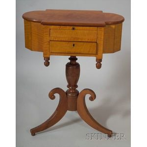 Classical Tiger Maple and Cherry Astragal End Work Table