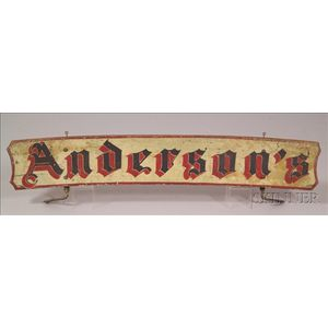 """""""Andersons"""" Double-sided Wood Trade Sign"""