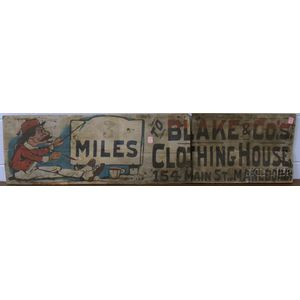 """Painted Wood Directional Trade Sign """"3 Miles to Blake & Co. Clothing House, 154 Main   Marlboro,"""""""