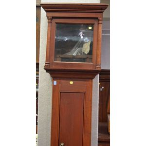 William Humphries Red Stained Pine Tall Case Clock.