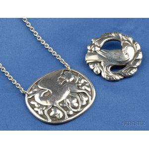 Two Sterling Silver Jewelry Items, Georg Jensen