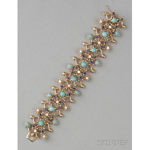 "18kt Gold Diamond and Gem-set ""Flowers and Stars"" Bracelet, Schlumberger, Tiffany &"