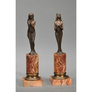 Pair of Small Bronze Art Nouveau Figures of Nymphs