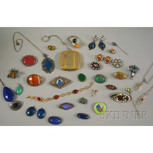 Group of Hardstone, Micromosaic, and Enamel Jewelry