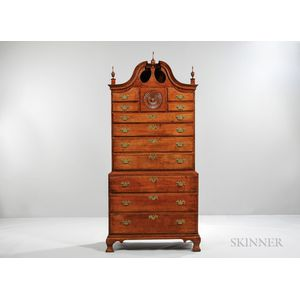 Carved Cherry Scroll-top Chest-on-chest