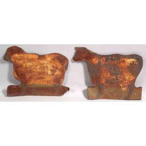 Sheet Iron Sheep and Cow Figural Trade Signs