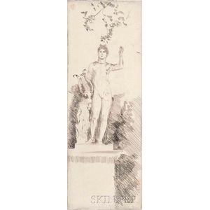 Paul César Helleu (French, 1859-1927)      Garden Statue, Possibly Versailles