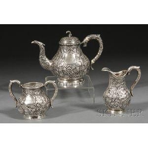 Three Piece Chinese Export Silver Tete-a-tete Tea Set