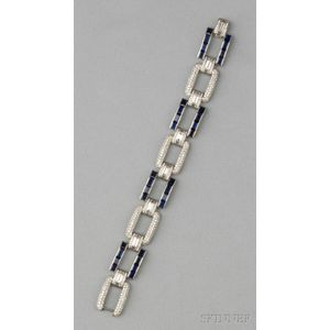 Platinum, Sapphire, and Diamond Bracelet