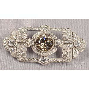 Art Deco Platinum, Colored Diamond and Diamond Pendant/Brooch