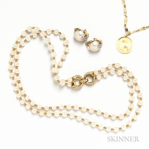 Double-strand Pearl and Gold Bead Necklace, Pair of 18kt Gold, Diamond, and Mabe Pearl Earrings, and an 18kt Gold Necklace with Cancer