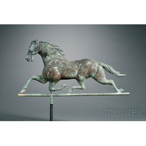 Molded Copper and Cast Brass Running Horse Weather Vane