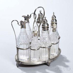 George III Sterling Silver and Glass Cruet Set